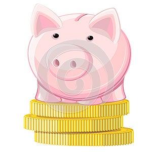 Piggy Bank And Coins Stock Photos - Image: 26502803