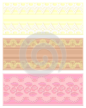 Three Vintage Lace Banners Stock Image - Image: 26502831