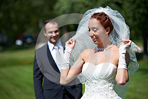 Bride And Groom On Walk Stock Photography - Image: 26520692