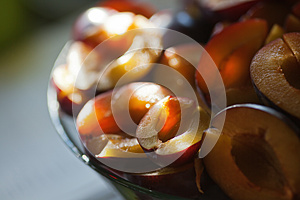 Bowl With Plum Halves Royalty Free Stock Images - Image: 26527769