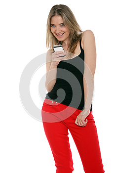 Happy Woman Sending A Text Message Stock Images - Image: 26531994