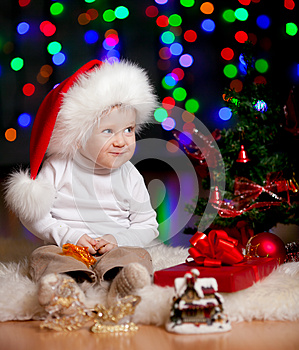 Funny Baby Santa Claus On Bright Background Royalty Free Stock Images - Image: 26534329