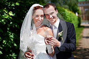 Beauty Bride And Groom On Wedding Walk Royalty Free Stock Images - Image: 26560479