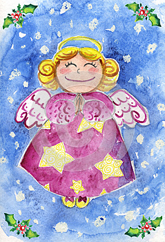 Cute Christmas Angel Watercolor Stock Image - Image: 26569431