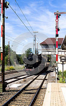 Steam Passing The Semaphore Royalty Free Stock Photo - Image: 26577355