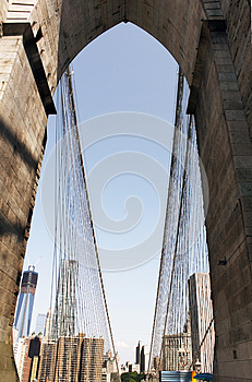 Downtown View From The Brooklyn Bridge Royalty Free Stock Photography - Image: 26578117