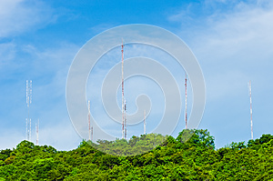 Steel Communication Antenna From Tree To Sky Royalty Free Stock Image - Image: 26583176