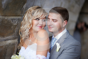 Bride And Groom Look At Each Other Royalty Free Stock Image - Image: 26583796