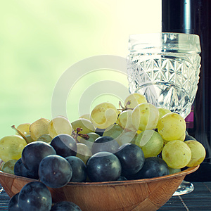Bottle Of Wine With Grape Stock Photos - Image: 26590093