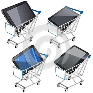 Shopping Cart With Tablet Stock Image - Image: 26593431