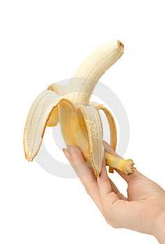Banana in hand Royalty Free Stock Photo