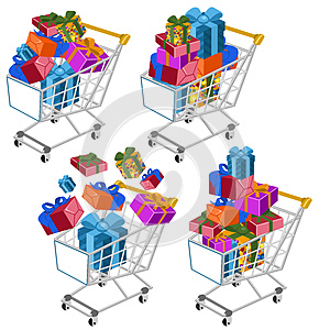 Shopping Cart With Gifts Stock Images - Image: 26613034
