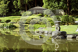 Picturesque Japanese Garden With Pond Stock Images - Image: 26613484