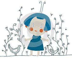 Cartoon Girl With Birds Royalty Free Stock Photos - Image: 26620998