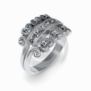 Wedding Silver Diamond Ring Isolated Royalty Free Stock Photo - Image: 26623645