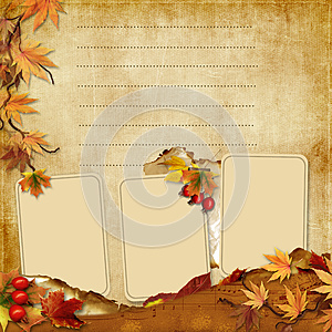 Vintage Photoframes With Autumn Leaves Royalty Free Stock Photos - Image: 26624858