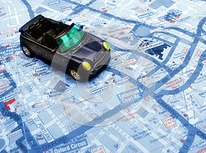 Blue Car Over Map Royalty Free Stock Photo - Image: 26633185