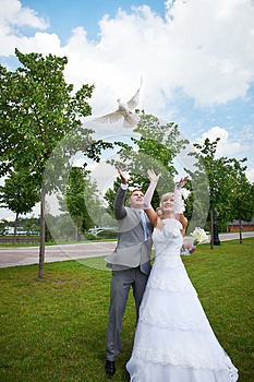 Bride And Groom Release Pigeon Royalty Free Stock Image - Image: 26636436