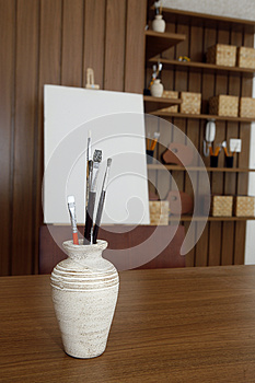 Vase With Brushes Royalty Free Stock Photos - Image: 26652558