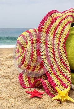 Bag, Hat And Funny Sea Stars Stock Photo - Image: 26656920