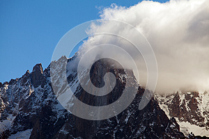 Snow Covered Mountains And Rocky Peaks In The Alps Royalty Free Stock Images - Image: 26689869