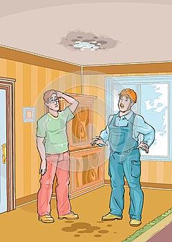 Arbeiter Mit Seinem Klienten- Und Bratenfettdach Stockbilder - Bild: 26690934