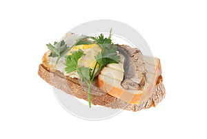 Rye-bread With Canned Fish, Cheese And Egg Royalty Free Stock Images - Image: 26692619