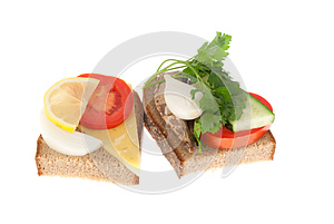 Two Bits Rye-bread With Canned Fish And Cheese Stock Images - Image: 26692624