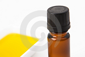 A brown bottle of oil Stock Images