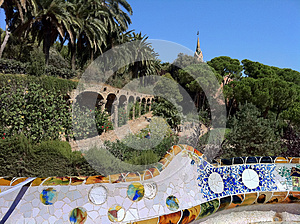 Barcelona. A Terrace  In Park Guell Stock Photography - Image: 26705582