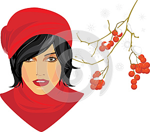 Brunette In A Red Knitted Cap With Rowan Branch Stock Photography - Image: 26715102