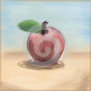 Painterly Apple, Freehand Drawing Linear Style, Stock Images - Image: 26737414