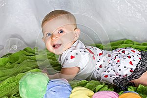 Crawling And Smiling Infant Stock Image - Image: 26787021