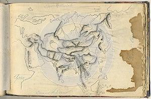 Mapa Original Do Vintage De Ásia Imagem de Stock - Imagem: 26789671