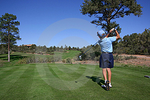 Young Golfer Hitting Off Tee Stock Photo - Image: 2680140