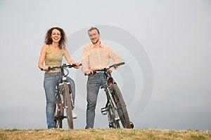 Paar op bicycles3 Stock Afbeelding
