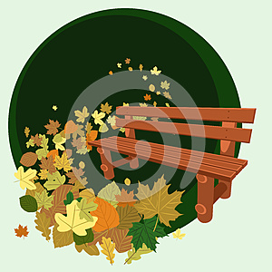 Wooden Bench And Leaves Royalty Free Stock Photos - Image: 26811038
