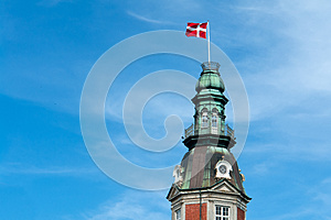 Flag Of Denmark Up High Royalty Free Stock Photo - Image: 26819875