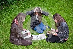 Schoolgirls Learning Intensive Stock Image - Image: 26822301