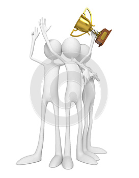 Team Of Winners Celebrating With Trophy. Royalty Free Stock Photo - Image: 26854945