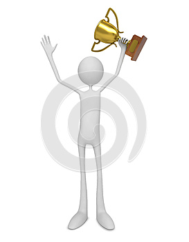 Gagnant. Homme Célébrant Avec Le Trophée. Photo stock - Image: 26854950