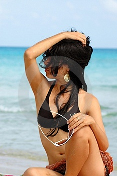 Fashion sunglasses beach girl Royalty Free Stock Photo