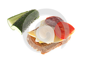 Bread With Sausage And Vegetables Royalty Free Stock Image - Image: 26913096