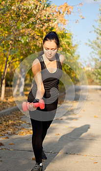 Woman Working Out With Weights Royalty Free Stock Images - Image: 26949409