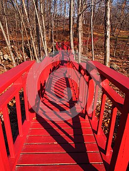 Red Bridge In The Forest (fall) Royalty Free Stock Photos - Image: 26957488