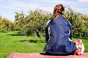 Girl With Bag Of Apple Stock Image