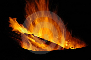 Fire Burning At Night Stock Photography