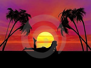 Sunset woman Free Stock Photo