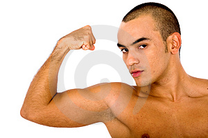 Fit man showing off his muscle Stock Photo