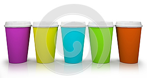 Five Paper Cups Of Coffee Stock Photo - Image: 27014610